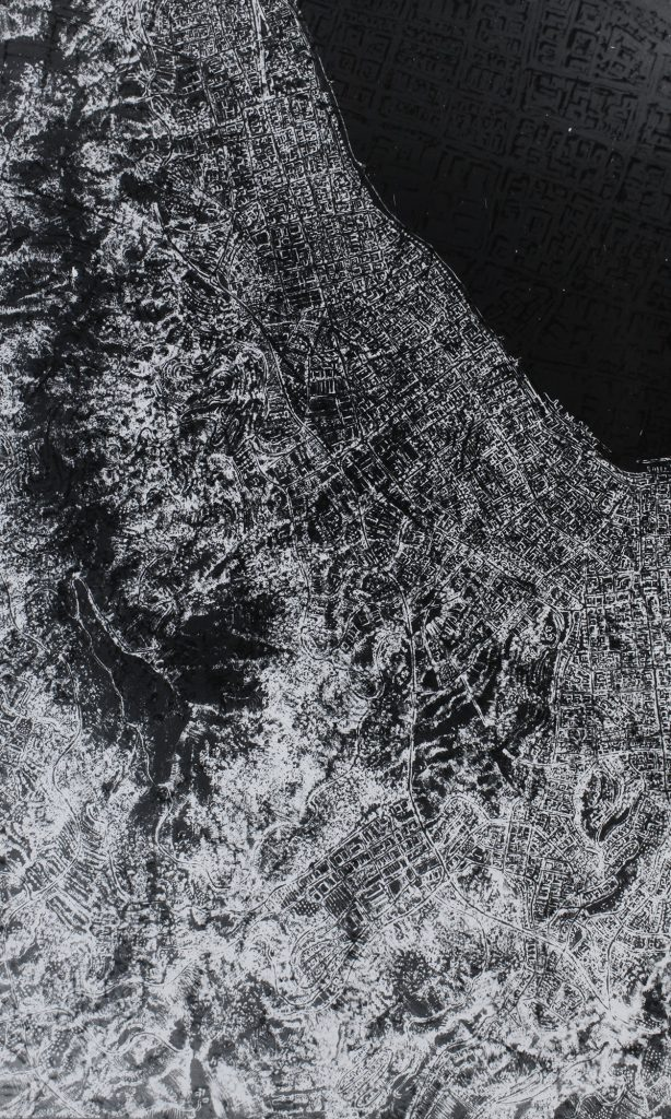 """Submerged city""  | 150x100 cm | photographic printing (double exposure) | 2014"